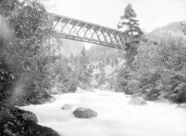 Quoik River and C.P. Ry. bridge, in Fraser Canyon