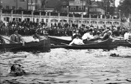 [A women's swimming race at English Bay]