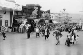 Mascots walking at P.N.E. Playland