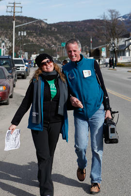 Torch relay crew members on  the street in Lytton, BC [2 of 2]