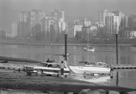 Winter [boat] launch at [Burrard Civic Marina]