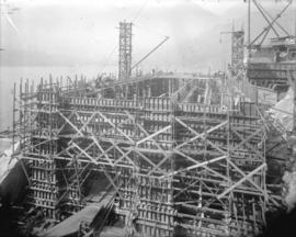 [Scaffolding surrounding partially constructed power house building for Buntzen Lake Power Plant ...