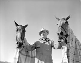 [A man with two blanketed horses on Ryan's Farm
