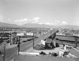 [Looking north along the Granville Street Bridge towards Downtown]