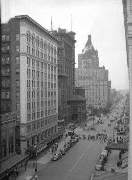 [Looking west along] Georgia Street from the Hudson Bay [store building]