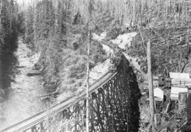 Eagle River Canyon [showing] Eagle River and Northern Railway 'Baldwin' locie [locomotive] from G...