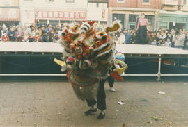 Dragon dance during Chinese New Year celebration on East Pender Street