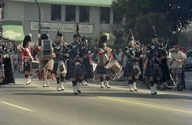 Bagpipers and drummers marching in Sea Festival Parade