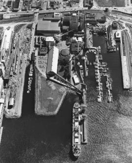 Aerial photograph of BC Sugar refinery and surrounding area
