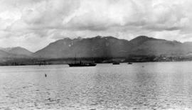 Burrard Inlet, freighter and North Shore mountains