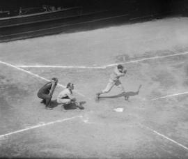 Baseball - Batter at home plate wearing B.C. Telephone Co. uniform