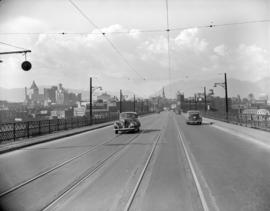 B.C. Electric street car tracks on Cambie Bridge