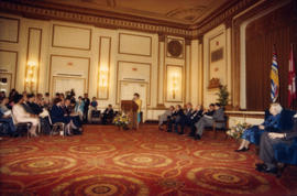 Distinguished Pioneer Awards attendees and speakers in the Hotel Vancouver Grand Ballroom