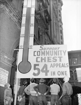 Community Chest campaign [fund collection measure on the side of a building]