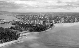 [Aerial view of West End and downtown from English Bay]
