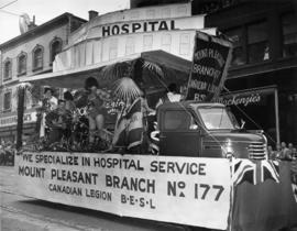 Mount Pleasant Branch of the Canadian Legion float in 1949 P.N.E. Opening Day Parade