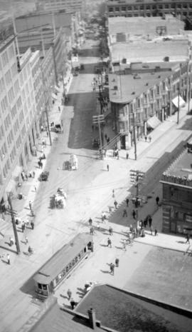 [Bird's eye view of Water, Cordova and Richards Streets]