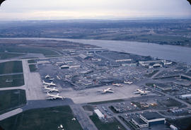 Aerial view of Vancouver airport, aircrafts at terminal