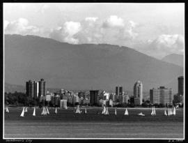 Yachtman's City [sailboats on English Bay, view of West End from Jericho Beach]