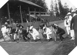 [Bicyclists at the starting line for a race at Brockton Point]