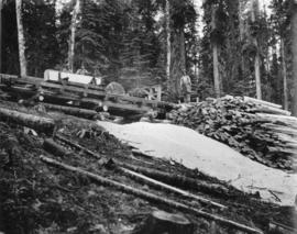 Eagle Lake Sawmills, Giscome, B.C.  Three man sawmill in the woods