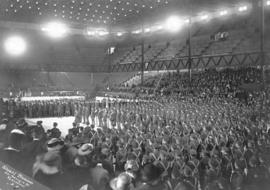 [The 29th Vancouver Battalion C.E.F. congregate inside the Denman Arena at 1805 West Georgia Street]