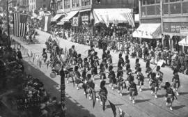 [Seaforth Highlanders band on parade]