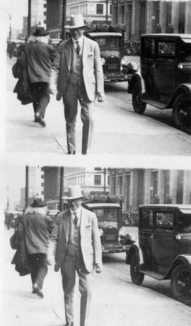 [L.D. Taylor walking down street in downtown Vancouver]