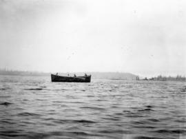 "[View of the lifeboat from the wreck of the ""Cottage City""]"