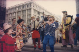 Group wearing costume playing music