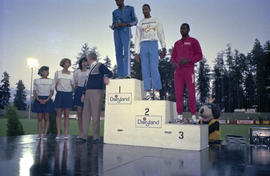 Winners on podium at Harry Jerome International Track Classic