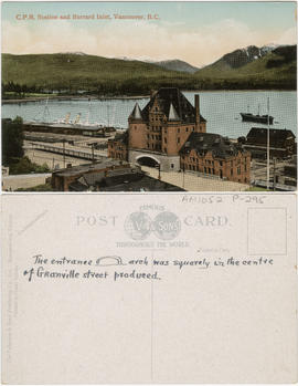 C.P.R. Station and Burrard Inlet, Vancouver, B.C.