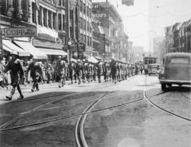 Vancouver Veterans Battalion approaching Cambie Street