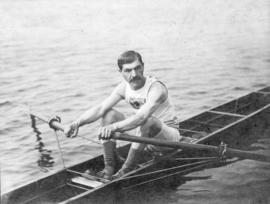 [James N.J. Brown in his racing scull]