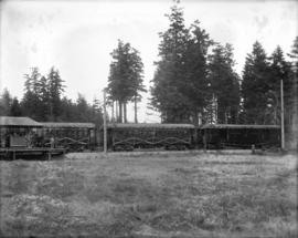 [Three interurban railway cars decorated for opening of Saanich Interurban Railway]