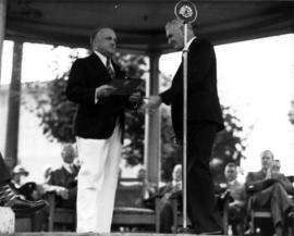 Presentation to Premier T.D. Pattullo at Canada Pacific Exhibition opening