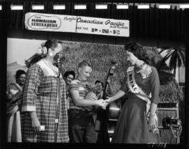 Carol Lucas, Miss P.N.E., with the Hawaiian Serenaders on Electrical building stage