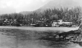 [View of Tunstall Bay and Western Explosives Limited from the water]