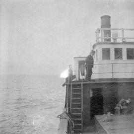 "[View of the wheelhouse from the deck of the Union S.S. ""Comox]"