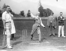 [Mayor L.D. Taylor bowls the first ball during Australian cricket team visit]