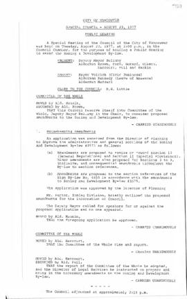 Special Council Meeting Minutes : Aug. 23, 1977