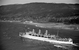 "[The ""Empress of Asia"" in Burrard Inlet near the mouth of the Capilano River]"