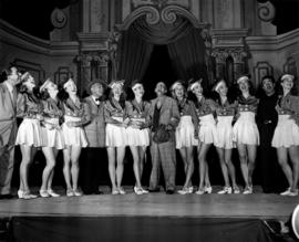 Jimmy Durante and Miss P.N.E. contestants on Forum stage