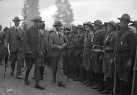 H.R.H. Prince of Wales inspecting boy scouts