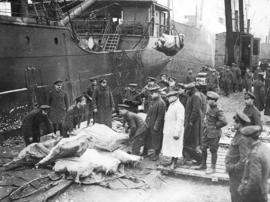 [Soldiers unload meat for the Western Front from a ship]
