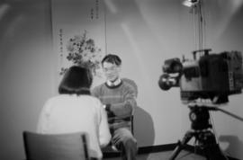 Paul Yee being interviewed by Andrea Eng for the Saltwater City video
