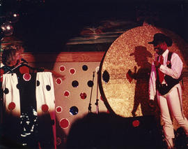 Bill Monroe and Marcus Mosley hamming it up : dot party '91