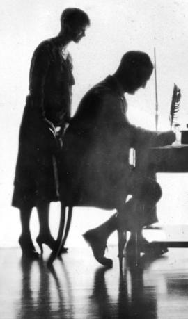 [Silhouette of] Bea and Orson [Banfield]