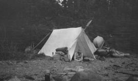 [Man in] tent at North Arm [Crocker Island]