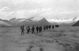 [Crossing glacier to reach Mount Huber]
